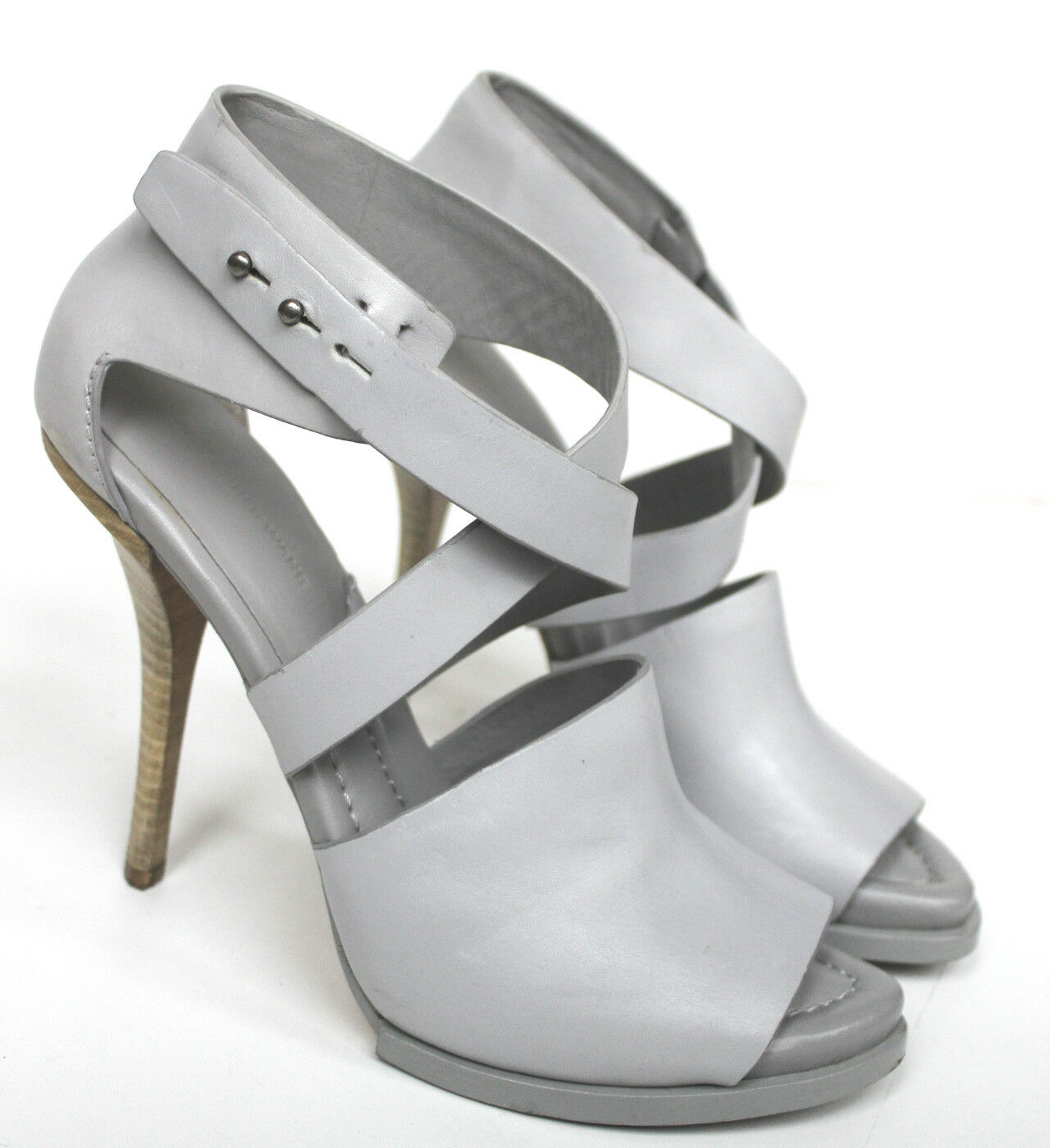 Alexander Wang Grey cross front platform sandal heels 39 UK 6