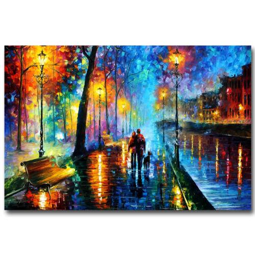 "A Couple Walking in Rain Abstract Art Silk Poster 13x20 24x36/"" Street Night"