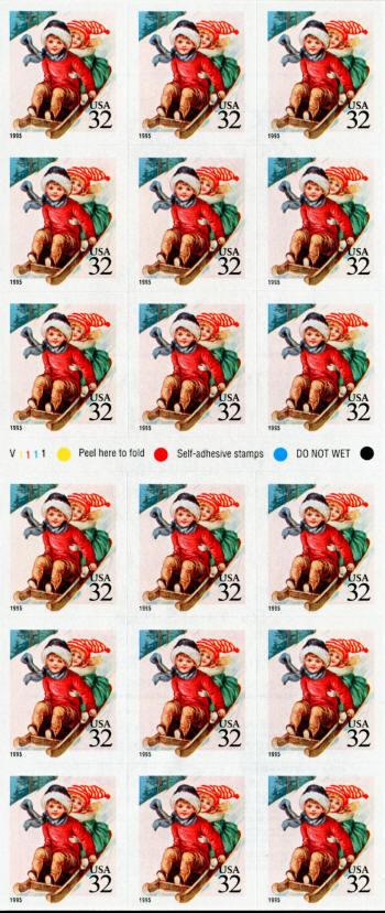 1995 32c Children Sledding, Mint Booklet Pane of 18 (AT