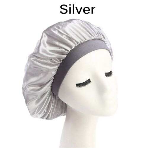 """Ajuster élastique Head Cover Large bande satin de soie nuit sommeil Cap cheveux BONNET-CHAPEAUX/"""""""