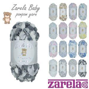 Zarela-Baby-Pom-Pom-Yarn-Wool-200g-VARIOUS-COLOURS