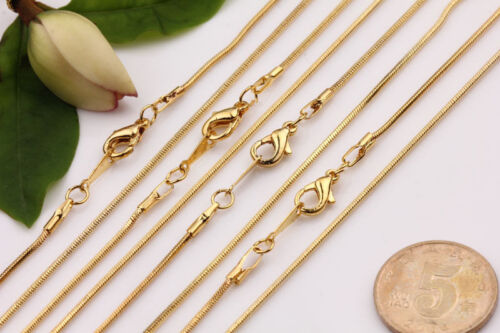 5pcs Gold Silver White K Snake Chain Lobster Clasp Necklace Making 430x1MM