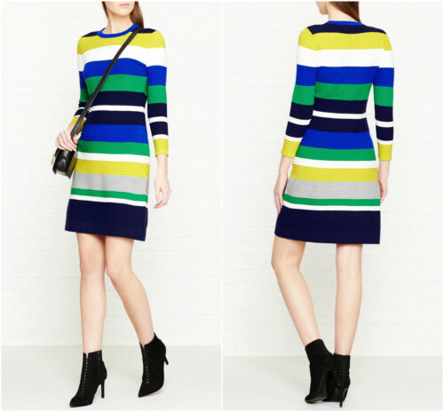 Knit £ Multi Stripe Dress 130 Club Bandage Bnwt Party Ka007 Evening Millen Bianco Karen New verde Bodycon Blu x6q1HHP