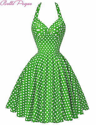 Vintage Style Polka Dot Swing 1950s HOUSEWIFE Casual Pinup Cocktail Party Dress