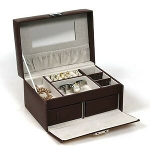 MEDIUM BROWN JEWELLERY BOX LEATHER FINISH JEWELRY STORAGE DISPLAY