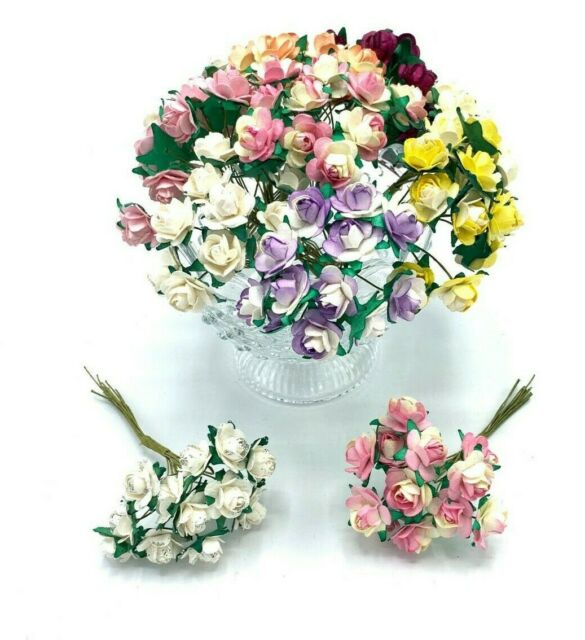 Mini Paper Tea Roses Wired 12 Per Bunch Choice Of 9 Colours Wedding Card
