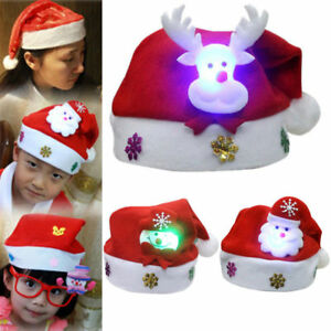 Christmas Hats For Kids.Kids Adults Led Christmas Hat Santa Claus Reindeer Snowman