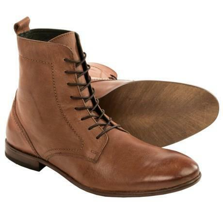 H by Hudson Songsmith Calfskin Men's Lace-Ups Brown Leather Ankle Boots 46 13 M