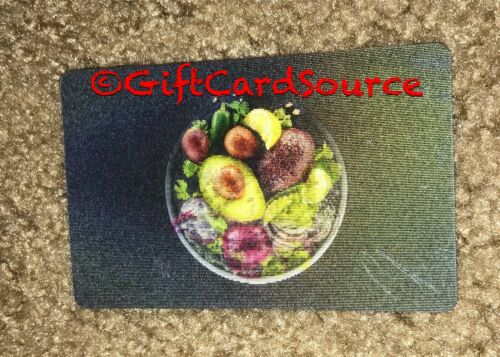 2015 CHIPOTLE GIFT CARD LENTICULAR BURRITO BOWL OF VEGGIES COLLECTIBLE NEW
