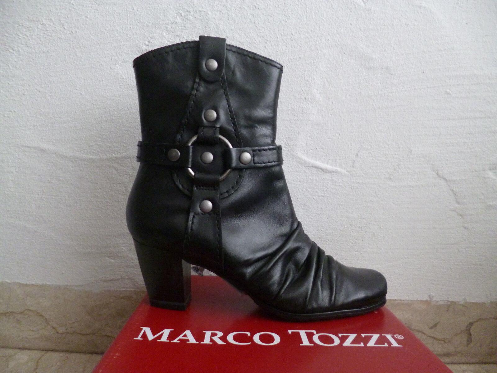 Marco Tozzi señora botines botín negro cuero genuino! nuevo!