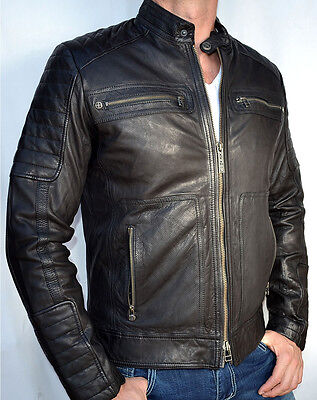 Affliction Black Premium - EASY RIDER - Men's Leather Biker Jacket - NEW - Black