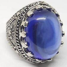 925 sterling silver mens ring Natural blue arabic neelam nailam حجر النيلم