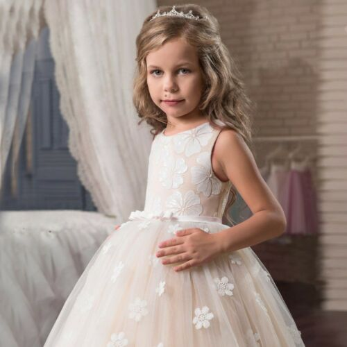 New Bridesmaid Gown Wedding Princess Girls Dress Flowergirl Party Kids Clothes
