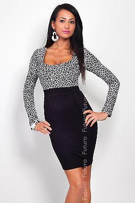 ☼ Elegant Women's Square Neck Dress ☼ Long Sleeve Bodycon Tunic Sizes 8-18 8456