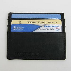Black 100% Leather Men 6 Credit Card Money Holder ID Thin Pocket slim Wallet Men