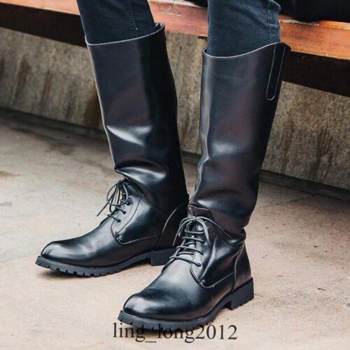in pelle nera Nuovi nera equitazione uomo lunghi pelle stivali da in da qax4xCfw