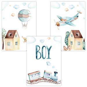 3er-Set-Wandbilder-Baby-Kinderzimmer-Poster-W09-Boy-Heissluftballon-Zug-Flugzeug