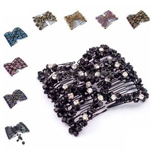 UK-SELLER-EZ-Magic-Beads-Double-Hair-Comb-Clip-Stretchy-Diamonds-Ladies-Party