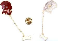 Super cute enamel Teddy dog with hanging bone brooch / pin