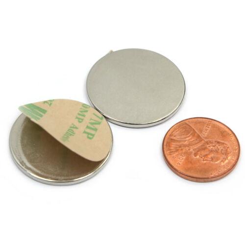 "Super Strong Neodymium Magnet Disc N52 1 x 1//16/"" w// 3M Adhesive 10 S /& 10 N"