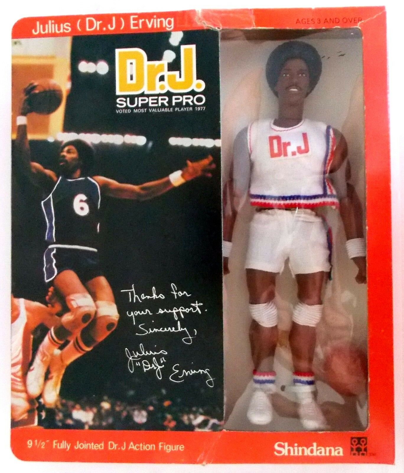 1976 JULIUS ERVING 10  shindana BASKETBALL figure -- -- -- VERSION 2 -- DOCTOR J w Box a6a7e3
