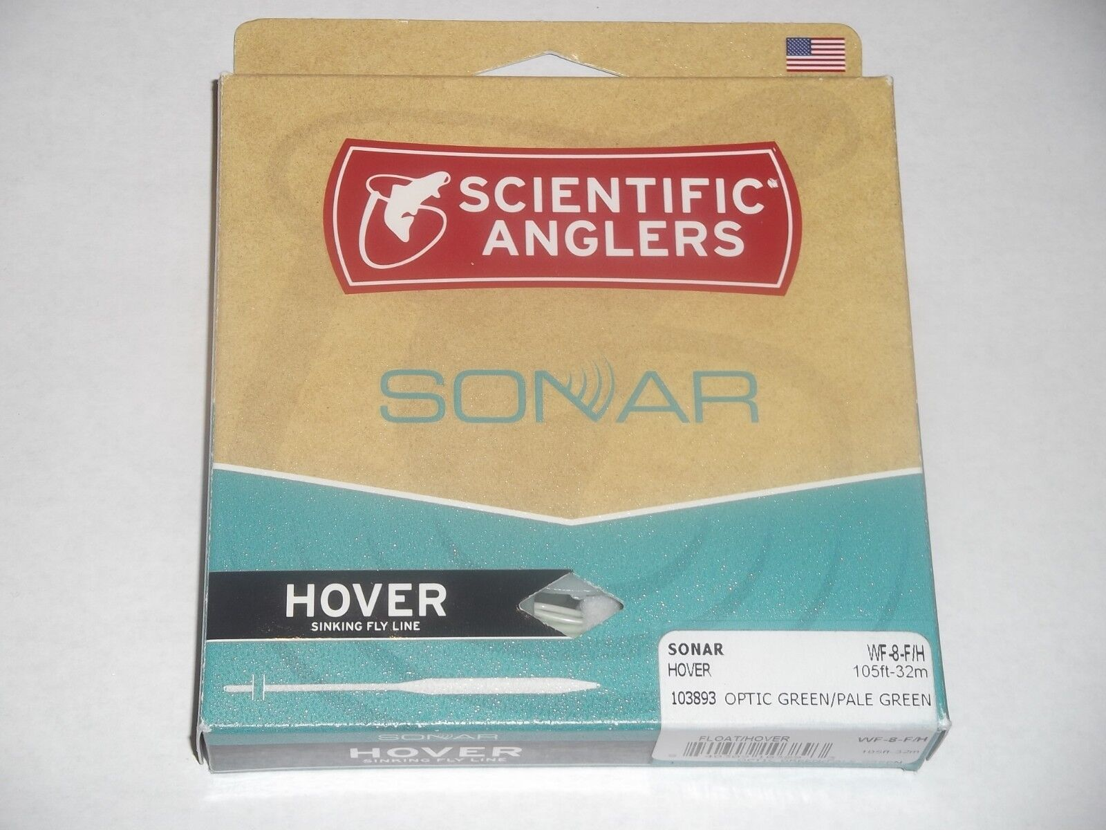 SCIENTIFIC ANGLERS SONAR HOVER WF-8-F H OPTIC GREEN PALE GREEN FISHING LINE