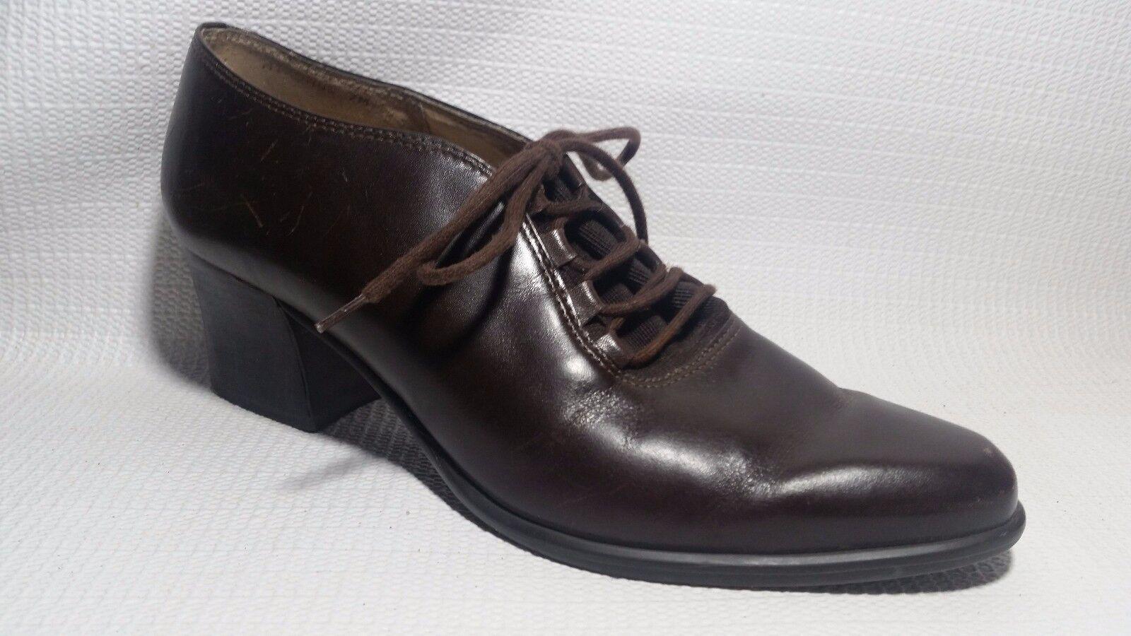 Jennifer Moore Womens 7 M Brown Leather Mikonos Block Heel 20's Loafers Booties