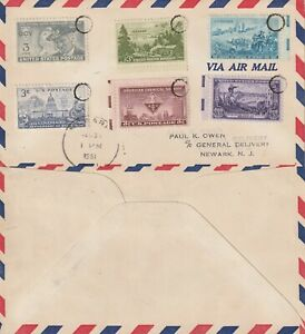 US-1951-MULTI-STAMPED-COMMERCIAL-FLIGHT-COVER-NEWARK-NEW-JERSEY
