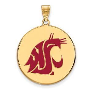 32mm x 25mm 925 Sterling Silver Yellow Gold-Plated Official Virginia State University XL Extra Large Big Enamel Disc Penda
