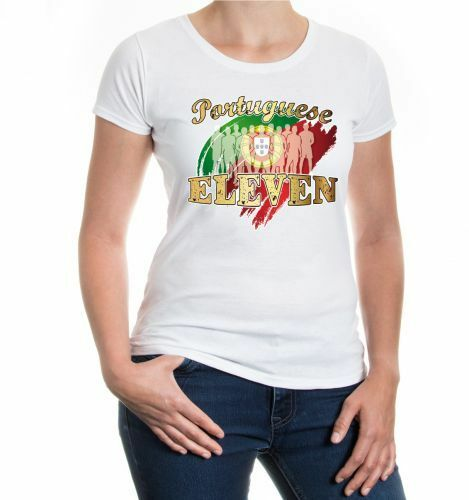 Damen Kurzarm Girlie T-Shirt Portuguese Eleven Portugal Fußball Fanshirt Trikot