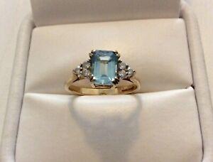 Beautiful-Ladies-Solid-9-Carat-Gold-Blue-Topaz-amp-White-Tourmaline-Ring-Size-K