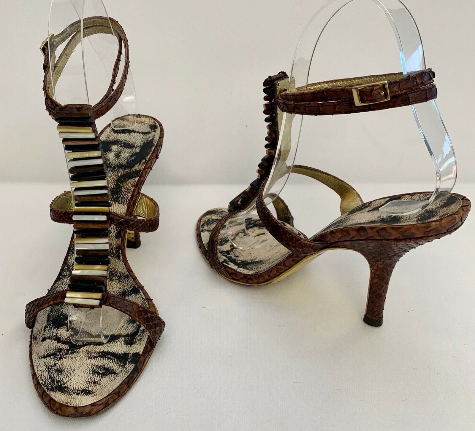 ROBERTO CAVALLI BROWN SNAKESKIN LEATHER SANDALS MOTHER OF PEARL SHOES HEELS 36.5