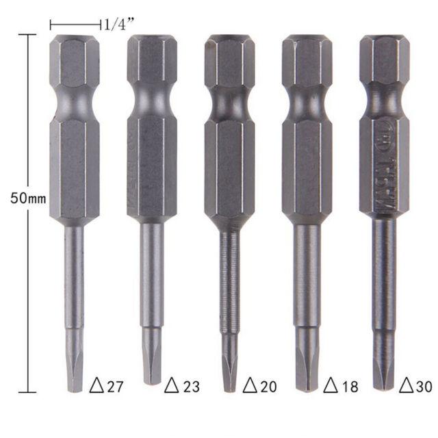 5x/Set magnetische DreieckKopf Schraubendreher BitS2Stahl 1/4Sechskant Schaft PD