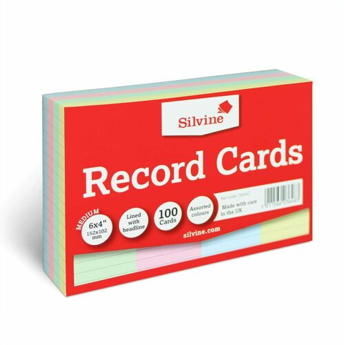 Lined with Headline Silvine A6 Multi-Coloured Record Cards 100 Cards Per Pack