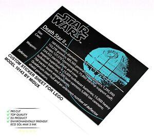 Ersatz Aufkleber//Sticker für LEGO Star Wars Set 10143 Death Star II UCS 2005
