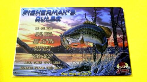FISHERMANS RULES Metal tin BASS Fish SIGN Wall Decor garage den bait shop poster