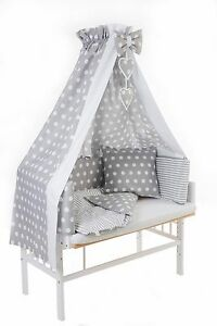 baby beistellbett weiss wiege babybett 3in1 komplett himmel nestchen dots grau ebay. Black Bedroom Furniture Sets. Home Design Ideas
