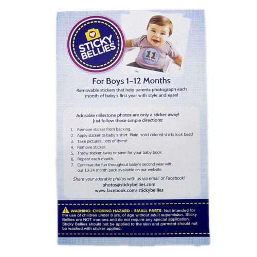 Monthly Baby Bodysuit Stickers Baby Boy Photo Shirt Shower Gift Keepsakes