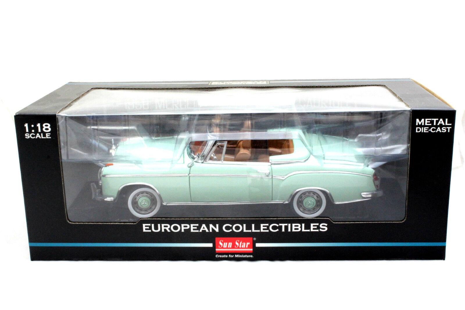 SUNSTAR 1958 MERCEDES 220SE OPEN CONgreenIBLE GREEN 1 18 DIECAST CAR