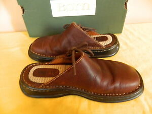 BORN-LEATHER-BRIA-SCOUT-II-BRIDLE-BROWN-MULES-CLOG-SHOES-8-39-M-EUC