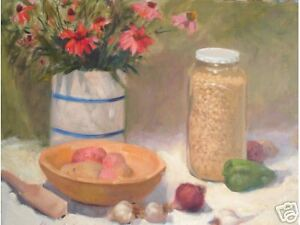 Country-Kitchen-still-life-cone-flower-med-signed-Original-Oil-Painting-Aycock