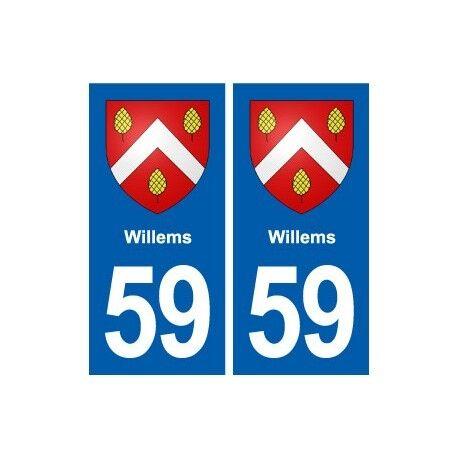 59 Willems blason autocollant plaque stickers ville arrondis