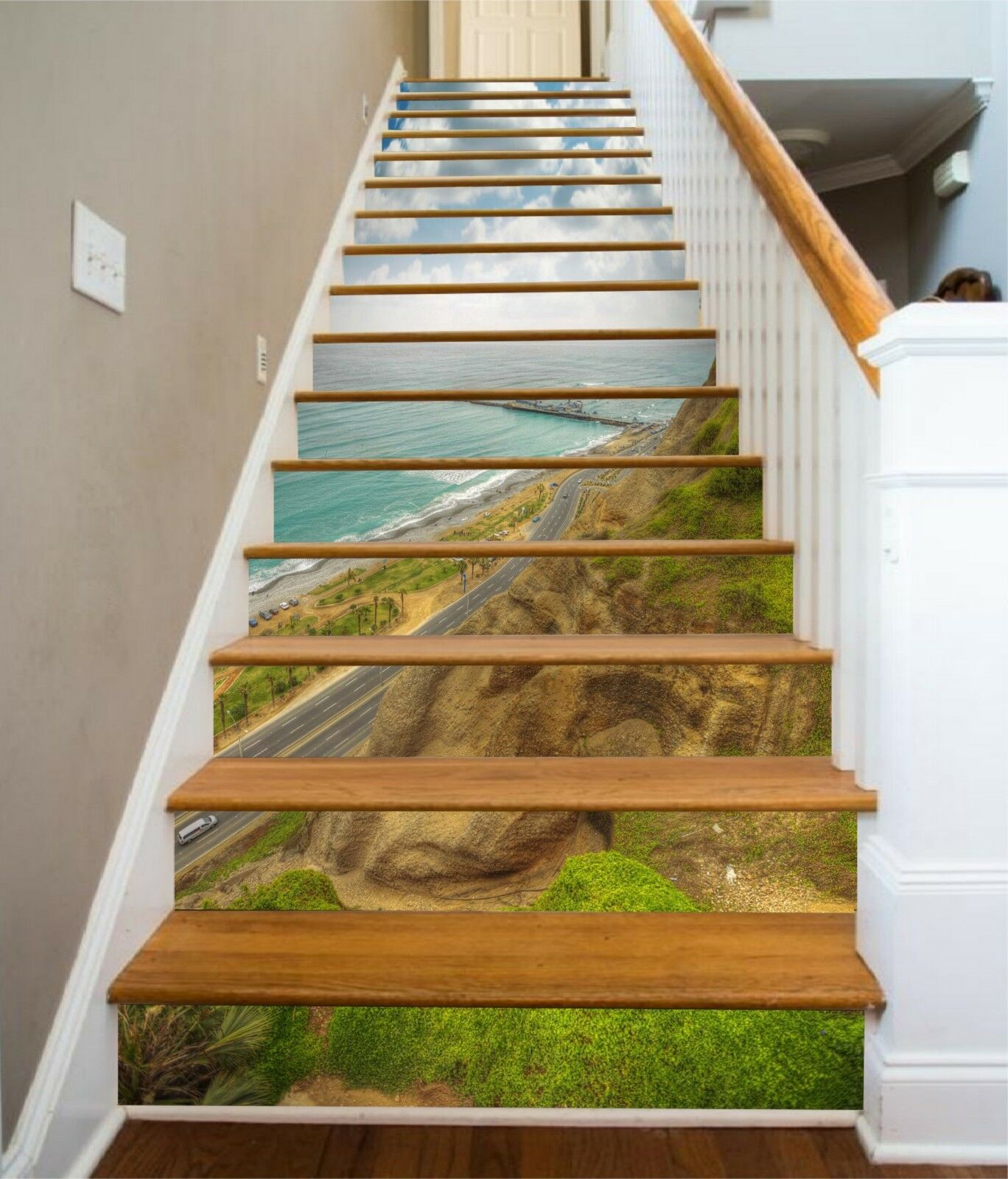 3D Lawn Mountains Stair Risers Decoration Photo Mural Vinyl Decal Wallpaper UK