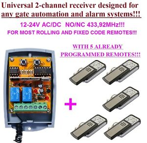 universal 2 kanal rolling fixed code funkempf nger 433 92mhz 5 handsender ebay. Black Bedroom Furniture Sets. Home Design Ideas