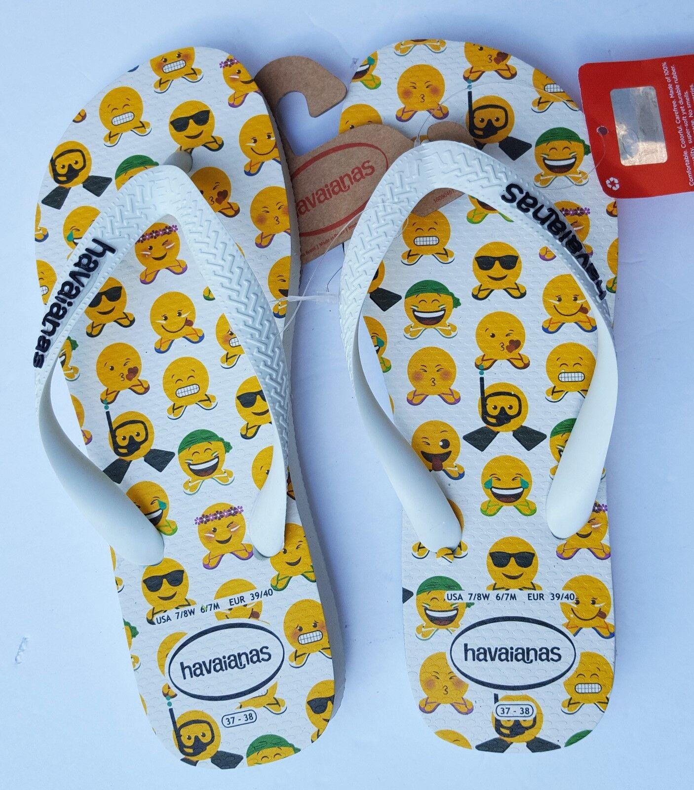 New Havaianas Flip Flop Sandals White Emogi Smiley Faces 7 8 Women 6 7 Men 39 40