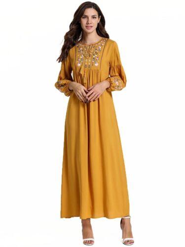 Ethnic Dubai Muslim Women Long Maxi Dress Robe Abaya Lace Up Kaftan Cocktail New