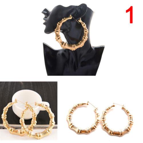 Large Bamboo Earrings Hip-Hop Gold//Silver Ladies Hoop//Hoop Bling Circle SwMA
