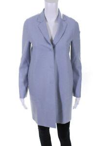 Harris Wharf London Womens Wool Button Down Cocoon Coat Blue Size 0