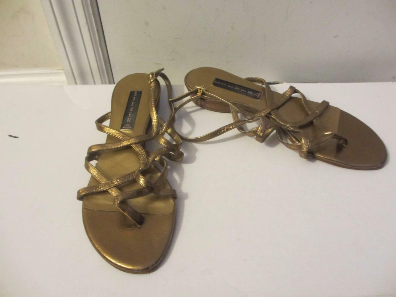 WOMENS STEVEN MADDEN BRONZE STRAPPY - LEATHER SANDALS WITH BUCKLE - STRAPPY SIZE 8.5M 51f6cc