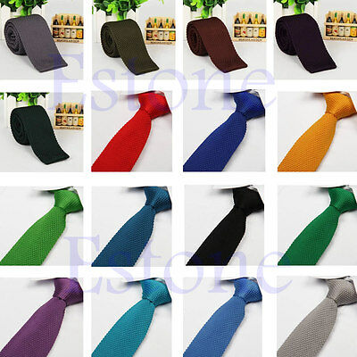 Men Skinny Solid Color Knit Knitted Woven Slim Square Wedding Tie Necktie Hot